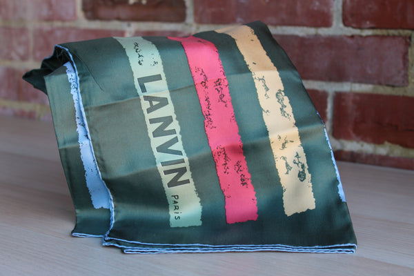 Lanvin (Paris, France) 100% Silk Scarf with Bands of Green, Blue, and Red