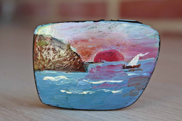 Ocean and Sailboat Scene Painted on an Old Eyeglasses Lens