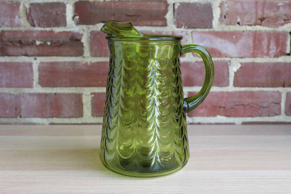 Avocado Green Glass Drink Pitcher with Ice Lip and Swag Detailing
