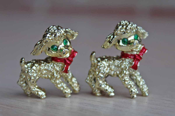 Little Christmas Lambs with Green Rhinestone Eyes Scatter Pins