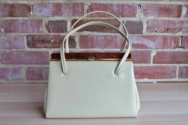 Beige Patent Leather Frame Handbag with Plastic Tortoiseshell Snap Closure, Made in England