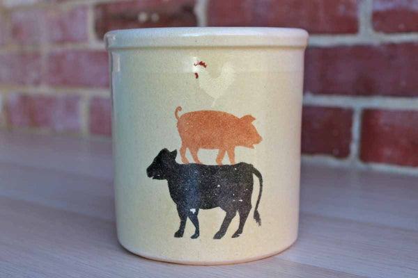 Robinson Ransbottom (Ohio, USA) 1 Quart Stoneware High Jar Stenciled with a Chicken, Pig, and Cow