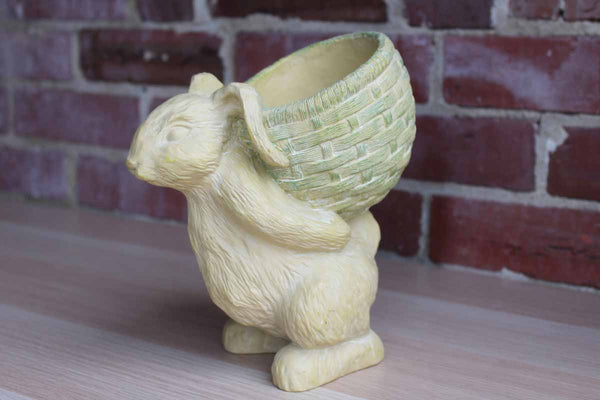 Cast Resin Rabbit Carrying a Green Basket