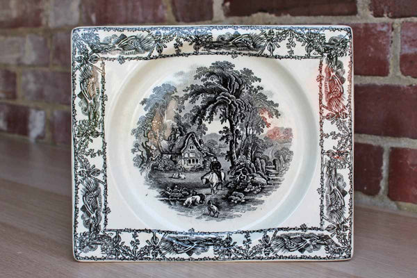 AJ Wilkinson Ltd. Royal Staffordshire Pottery (England) Rectangular Black Transferware Plate with Rural Scenes