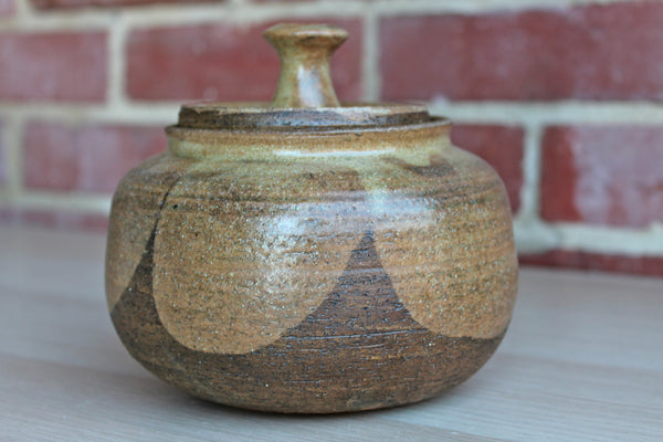 Primitive Handmade Stoneware Lidded Jar with Brown and Tan Glaze