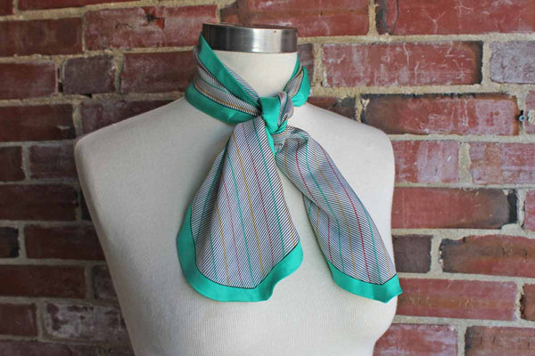 Bill Blass (USA) Colorful Striped Silk Neckerchief with Teal Border