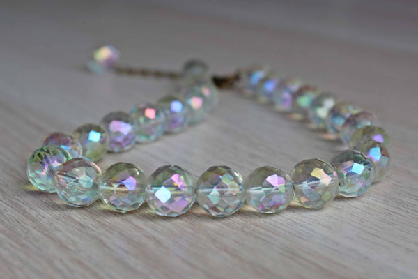 Round Faceted Iridescent Glass Bead Choker Necklace