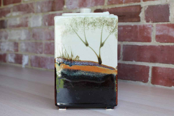 All-Purpose Stoneware Storage Container with Landscape Decoration