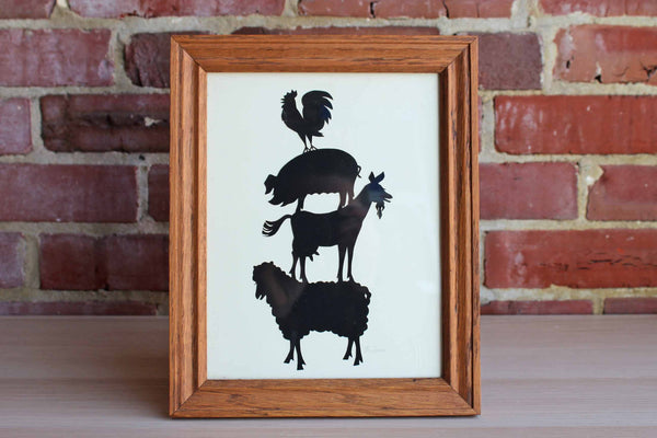 Framed Folk Art Farm Animals Silhouettes by B. Turner