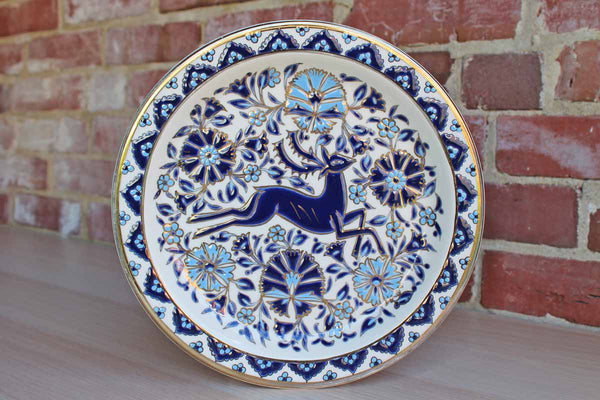 Ceramica Olympia (Rhodes) 24 K Gold Rimmed Hand Painted Blue Enamel Wall Plate
