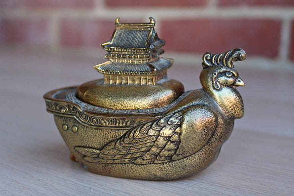 Japanese Bird and Temple Incense Burner
