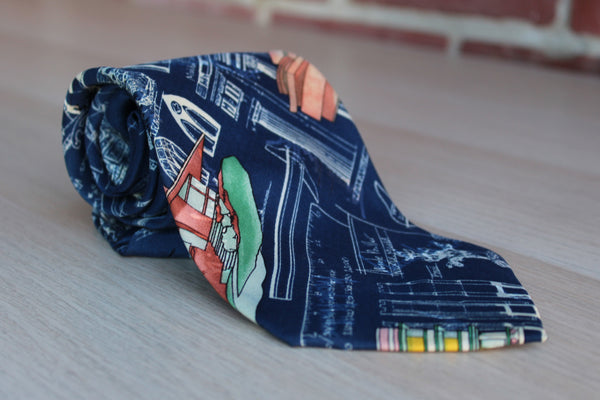 Nicole Miller (New York, USA) 100& Silk Necktie Decorated with Blueprints and Buildings