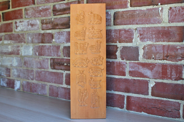 Jobin (Switzerland) Wood Springerle or Butter Mold, 13 Animal Imprints