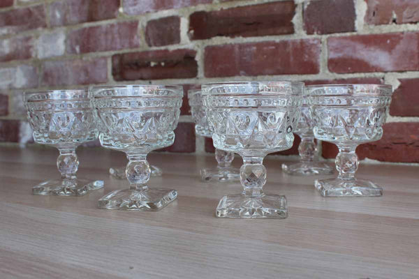 Colony Glass (Connecticut, USA) Park Lane Clear Champagne/Sherbet Glasses, 7 Pieces