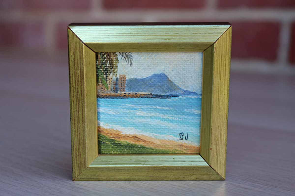 "Miniature Oil Painting of ""Diamond Head, Oahu""  by Betty Jenke"