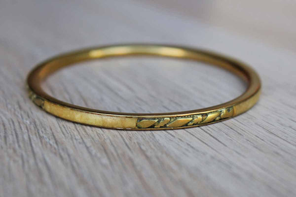Brass Bangle Bracelet with Stone Inlay