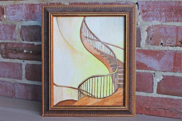 Acrylic Painting of a Winding Staircase by John L. Hausner