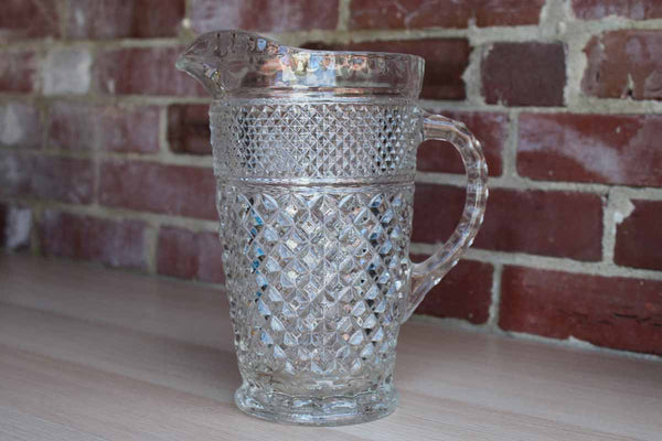 Anchor Hocking (Ohio, USA) Wexford Diamond Point Clear Glass Handled Pitcher