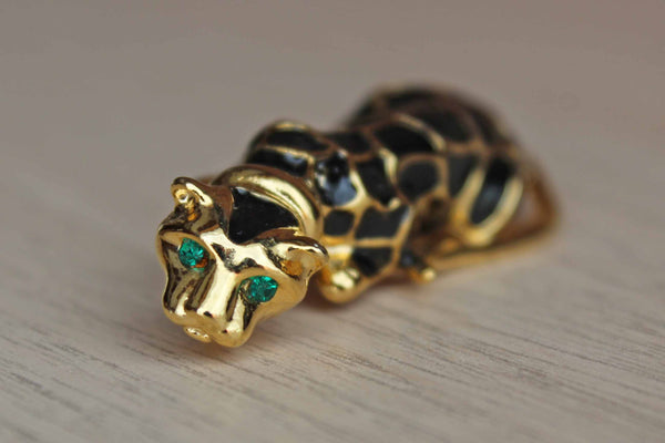 Gold Tone Cheetah Brooch with Green Rhinestone Eyes