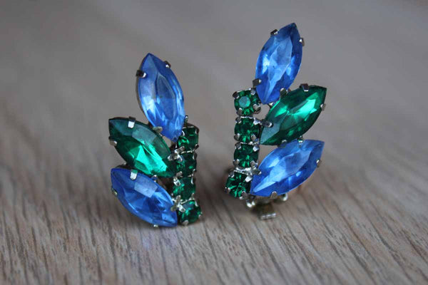 Blue and Green Marquis and Round Cut Rhinestone Non-Pierced Earrings