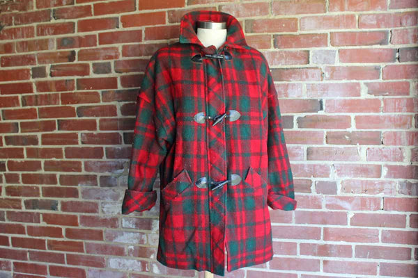 Mackintosh New England (USA) Wool Blend Red and Green Plaid Coat