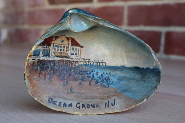 Hand-Painted Oyster Shell Souvenir of The North End Hotel from Ocean Grove, New Jersey