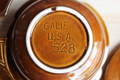 California Pottery (California, USA) Orange and Brown Glazed Lazy Susan Chip & Dip Server