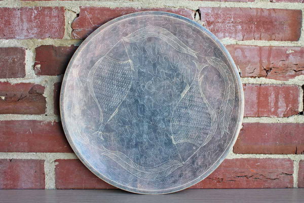 Soapstone Platter with Handcarved Fish and Leaf Designs