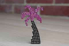 Dorothy Bauer (USA) Black and Pink Rhinestone Palm Tree Brooch