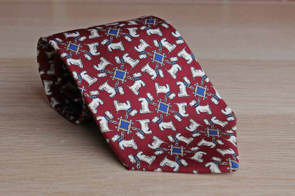 Lord & Taylor 100% Silk Necktie Decorated with White Terriers