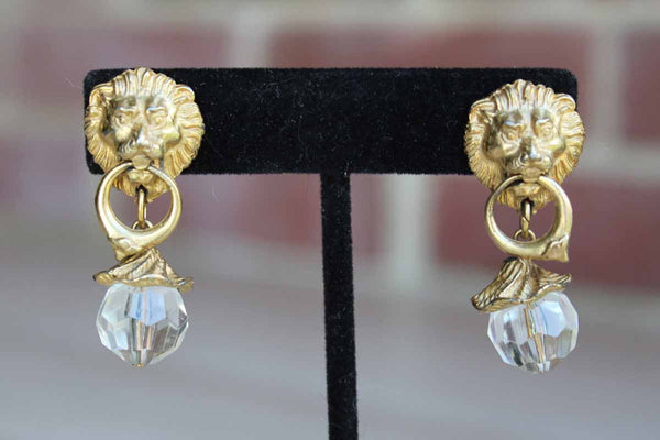 Gold Tone Lion Door Knocker Pierced Earrings with Pagoda and Faceted Crystal Drop