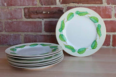 Dessert or Salad Plates with Green and Blue Painted Leaves, Set of 7