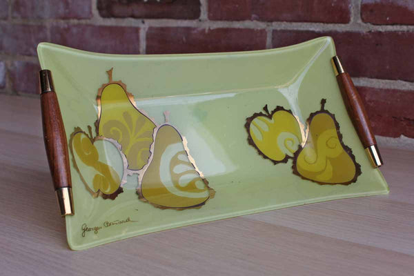 Georges Briard (USA) Painted Glass Tray with Pears and Apples and Wooden Handles