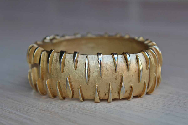 Trifari (USA) Gold Tone Bracelet with Tiger Stripe Design