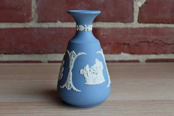 "Wedgwood (England) Blue Jasperware ""Cupid Asleep,"" ""Aurora,"" and ""Cupid as Oracle"" Cameo Bud Vase"