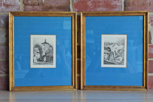 Custom Framed Steel Engravings of German Village Scenes Signed by R. Veit