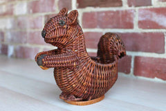 Handweaved Squirrel Holding Acorn Basket