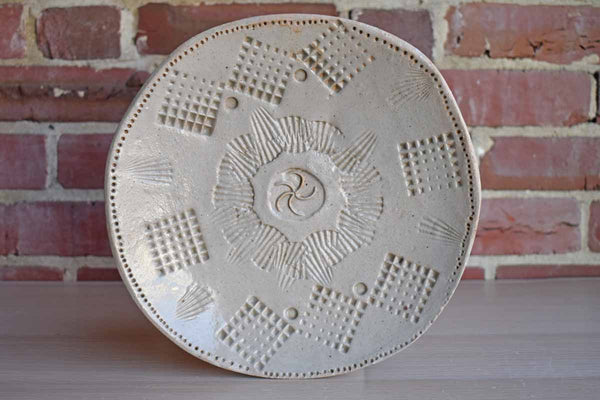 Handmade Primitive Plate with Impressed Geometric Patterns
