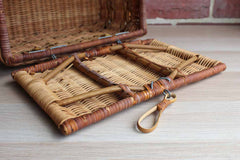 Hand Woven Footed Wicker Picnic or Sewing Basket with Hook Lock and Metal Hinges