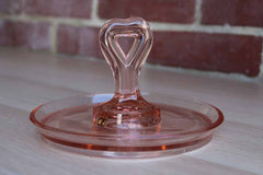 Pink Depression Glass Candy Dish with Heart Shaped Handle