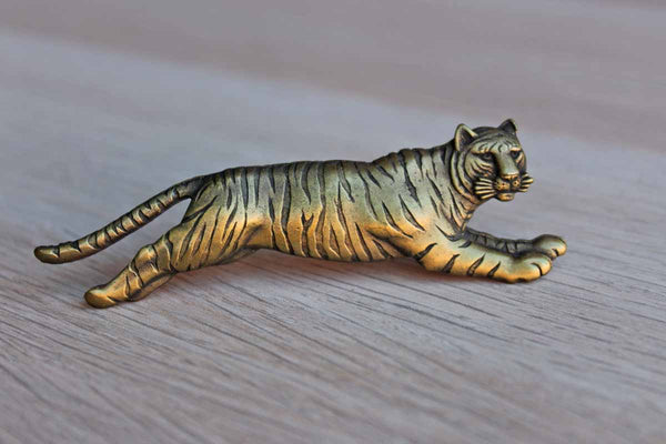 Gold Tone Leaping Striped Tiger Brooch