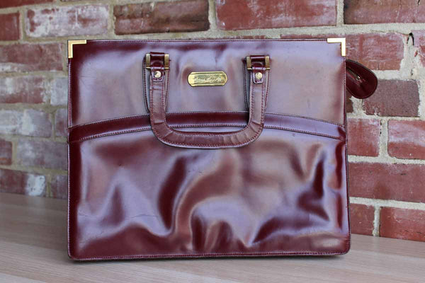Etienne Aigner (New York, USA) Antic Red Handmade Leather Briefcase