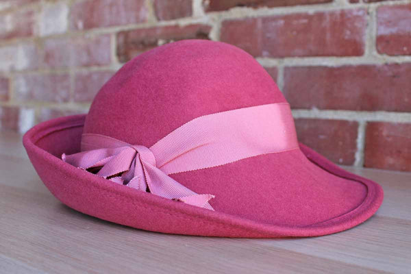 Bollman Hat Company (Pennsylvania, USA) Mocha Rose Colored Wool Felt Hat with Grosgrain Ribbon
