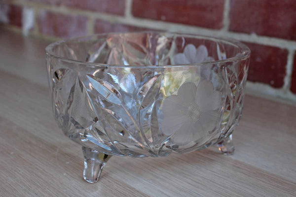 Heavy Footed Bowl with Cut and Incised Glass Flowers and Leaves