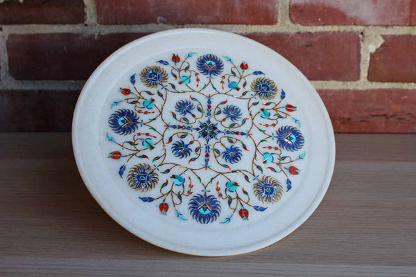 Round Marble Tray with Colorful Inset Flowers