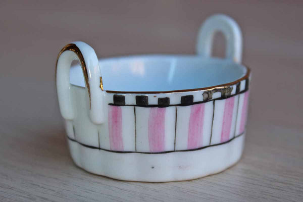 Noritake (Japan) Small Hand Painted Handled Trinket Bowl with Pink, Black and Gold Detailing