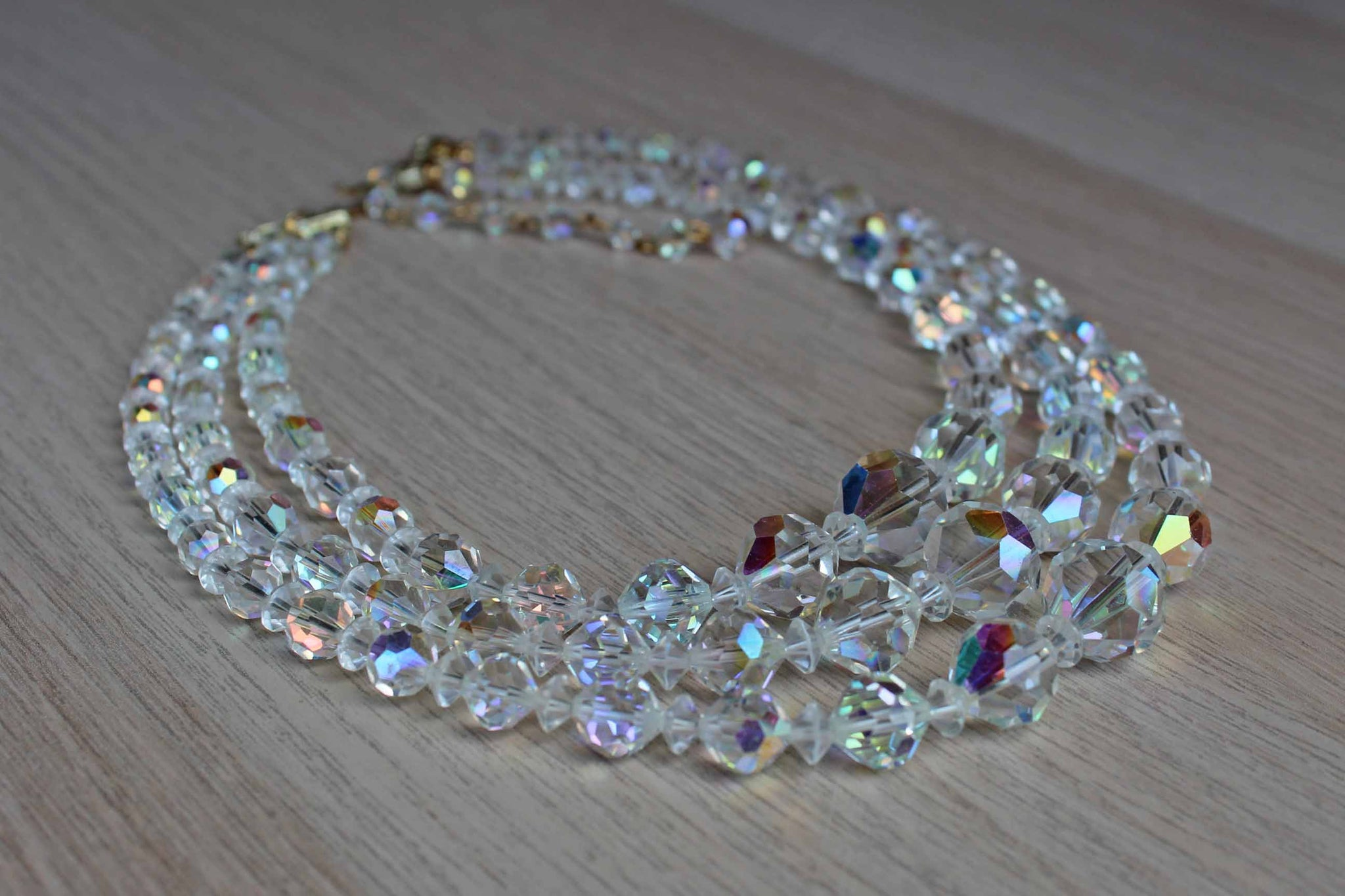 Triple Strand Aurora Borealis Faceted Glass Bead Necklace