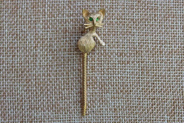 Little Gold Tone Cat Brooch with Green Rhinestone Eyes