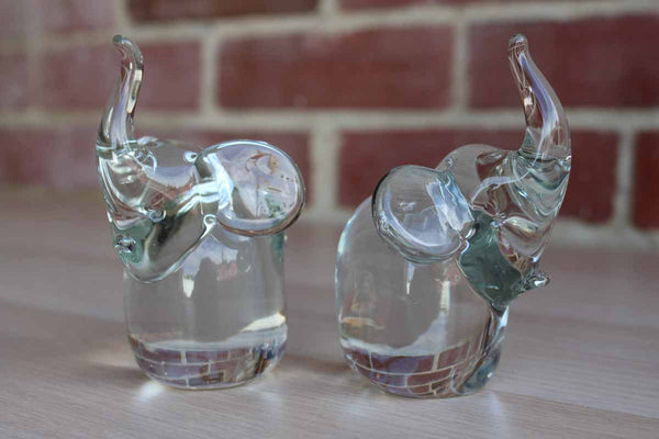 Blown Glass Elephant Figurines, A Pair