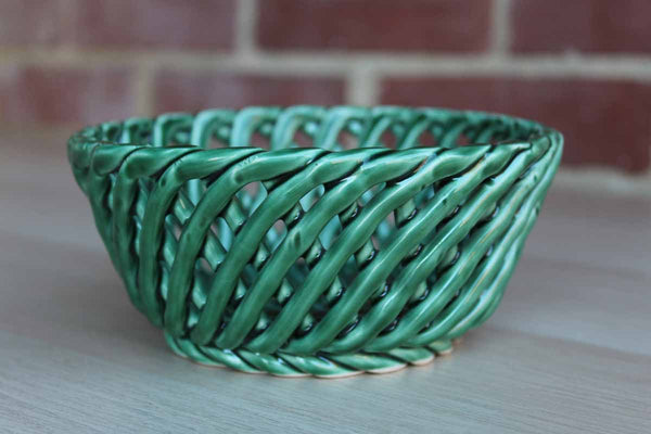Green Ceramic Open Weave Basket